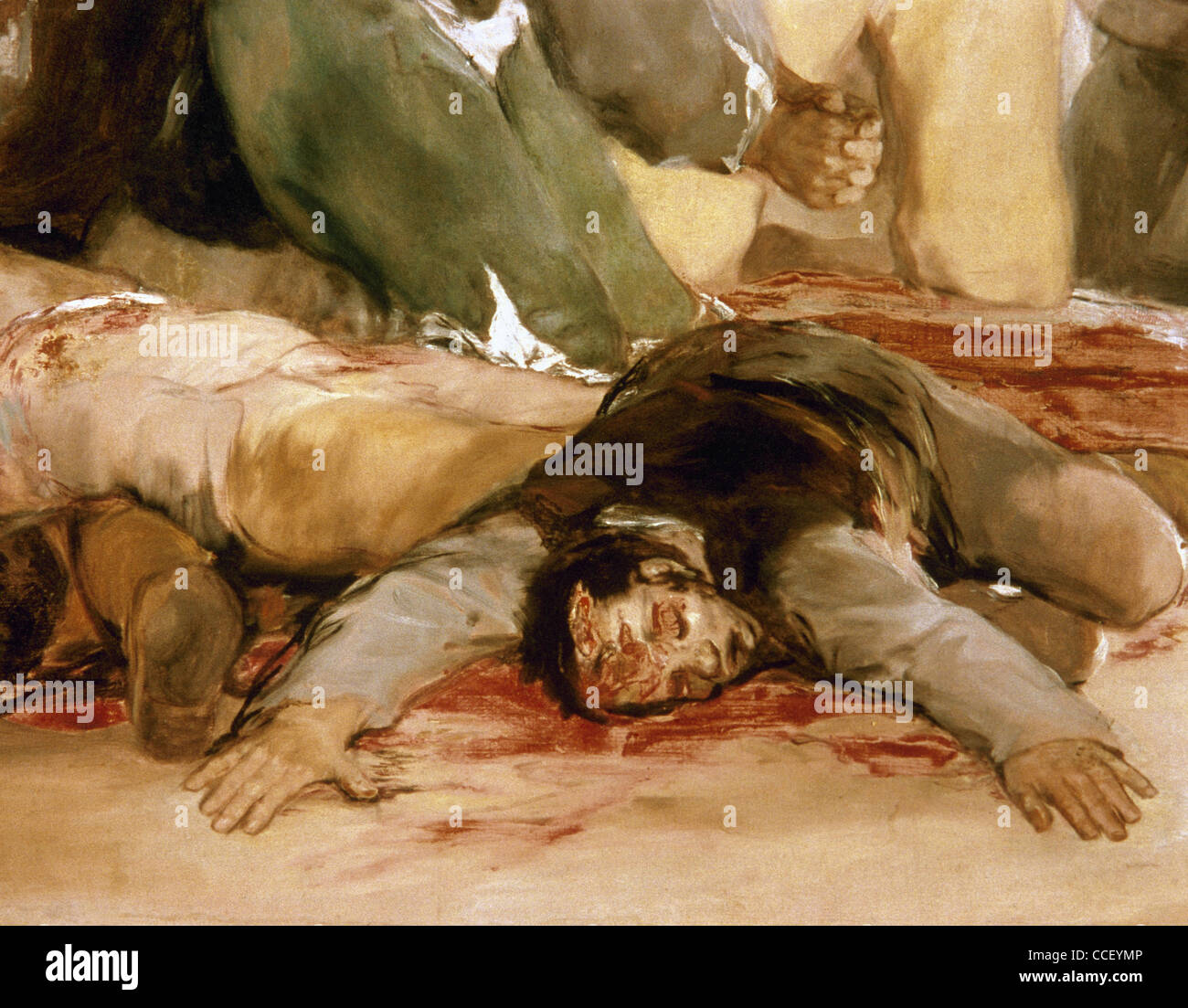 Francisco de Goya (1746-1828). The 3rd of May 1808 in Madrid: the executions on Principe Pio hill. 1814. Detail. - Stock Image