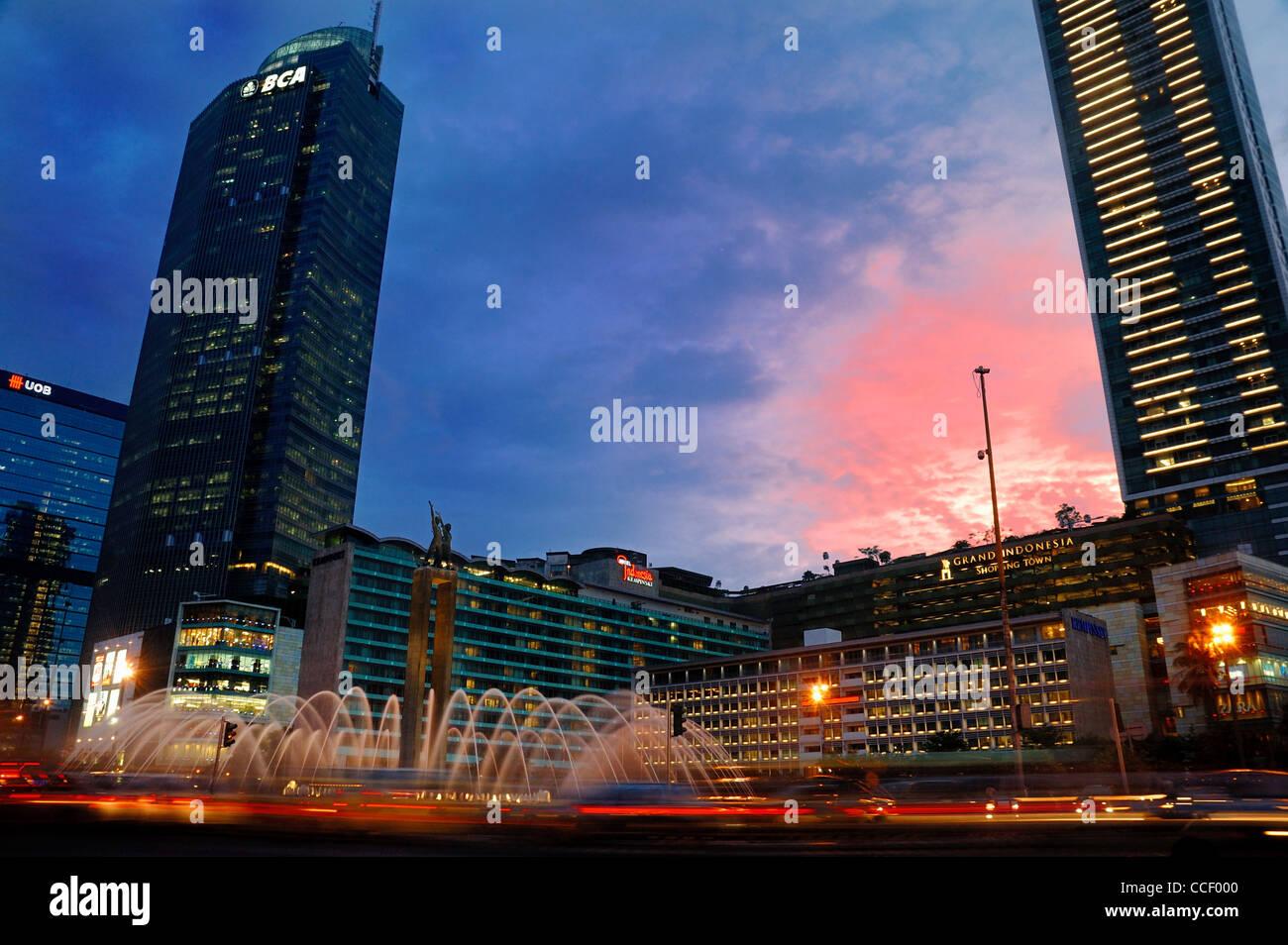 Blue Hour At Bundaran Hi Stock Photo Alamy