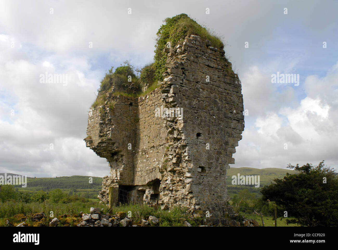 Remains of the O'Rourke Castle, The Cuéllar Trail, Castletown, County Laois, Leinster, Ireland, Europe. - Stock Image
