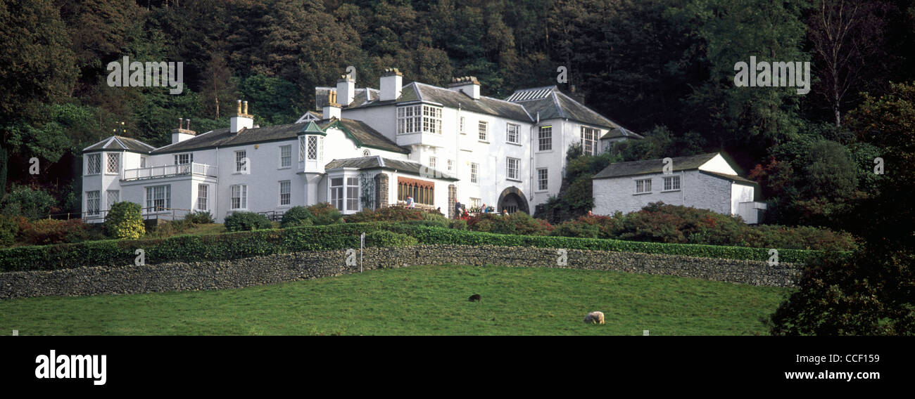 John Ruskin Brantwood home a heritage museum about history of Ruskin beside Coniston Water listed historical building - Stock Image