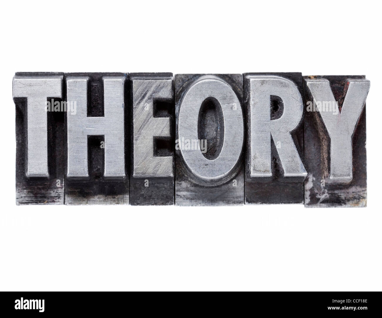 theory - isolated word in grunge vintage metal letterpress printing blocks - Stock Image