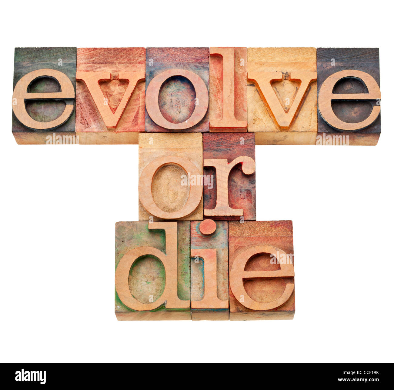 evolve or die - evolution or adaptation concept - isolated text in vintage wood letterpress type, stained by color - Stock Image