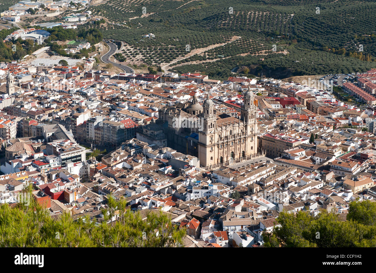 View of the city of Jaen, Andalusia, Spain from the Santa Catalina Castle - Stock Image