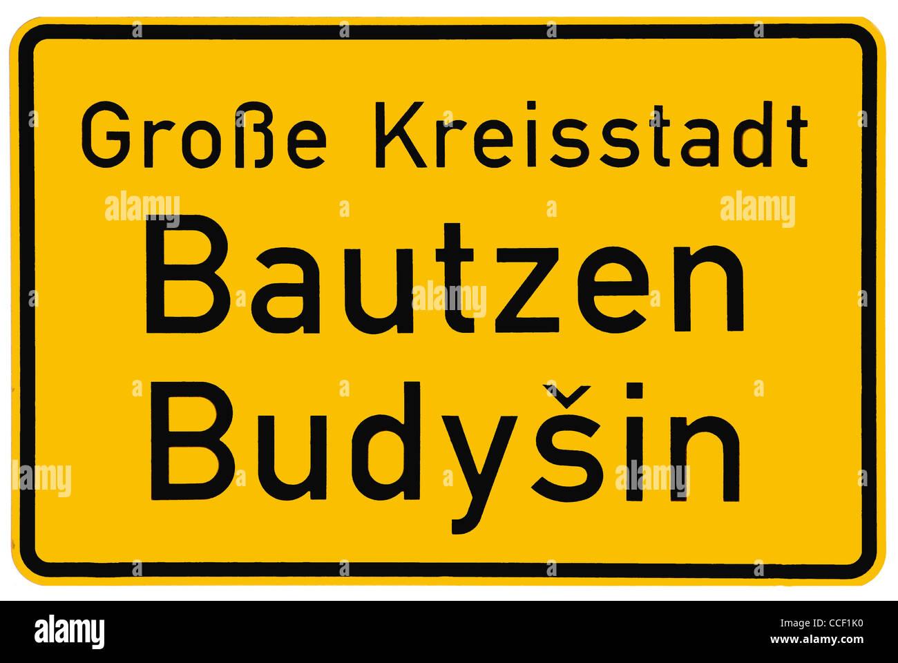 City sign of Bautzen in German and Sorbian language. - Stock Image