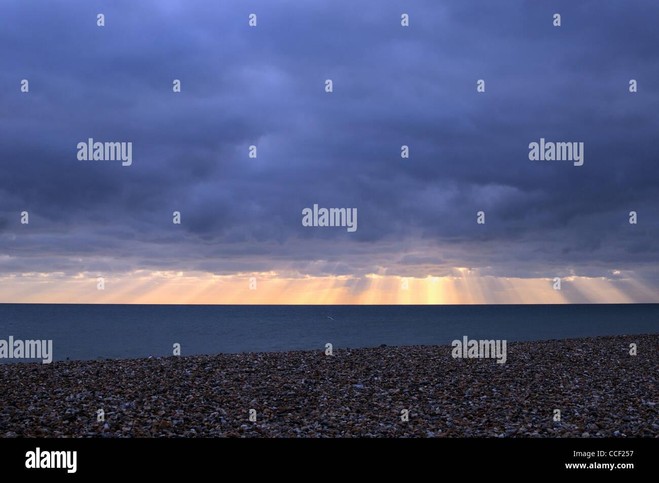 Empty winter seascape ,Worthing - Stock Image