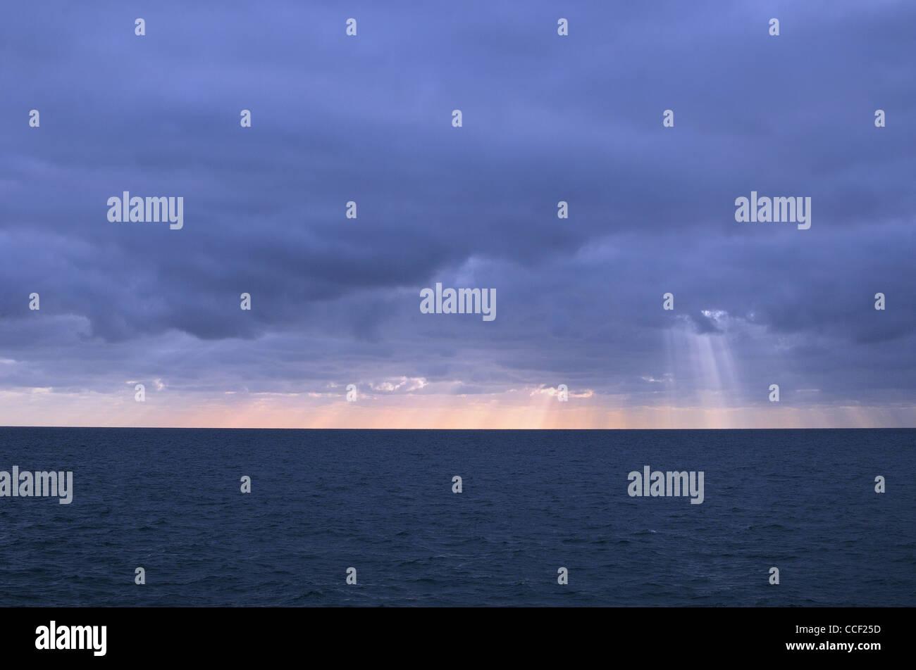 Empty winter seascape ,Worthing Sussex UK - Stock Image