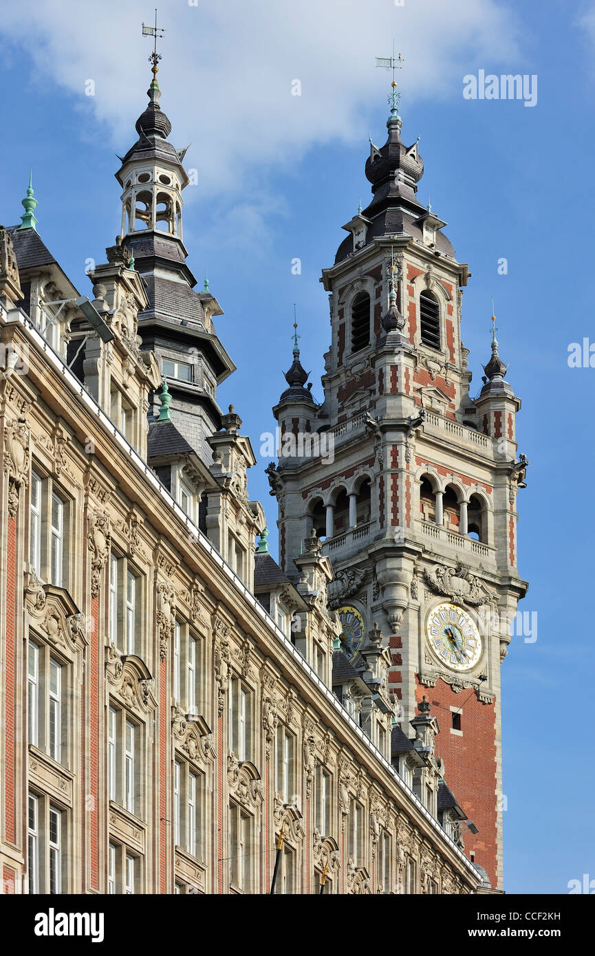 Bell tower / Belfry of Chamber of Commerce at Lille, France - Stock Image
