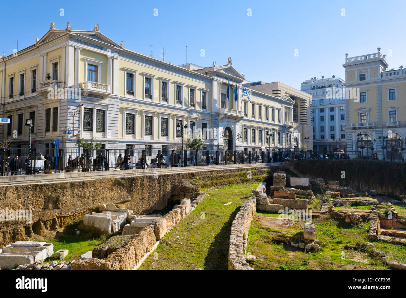 Excavation site in front of the National Bank of Greece, Athens, Greece, Europe - Stock Image