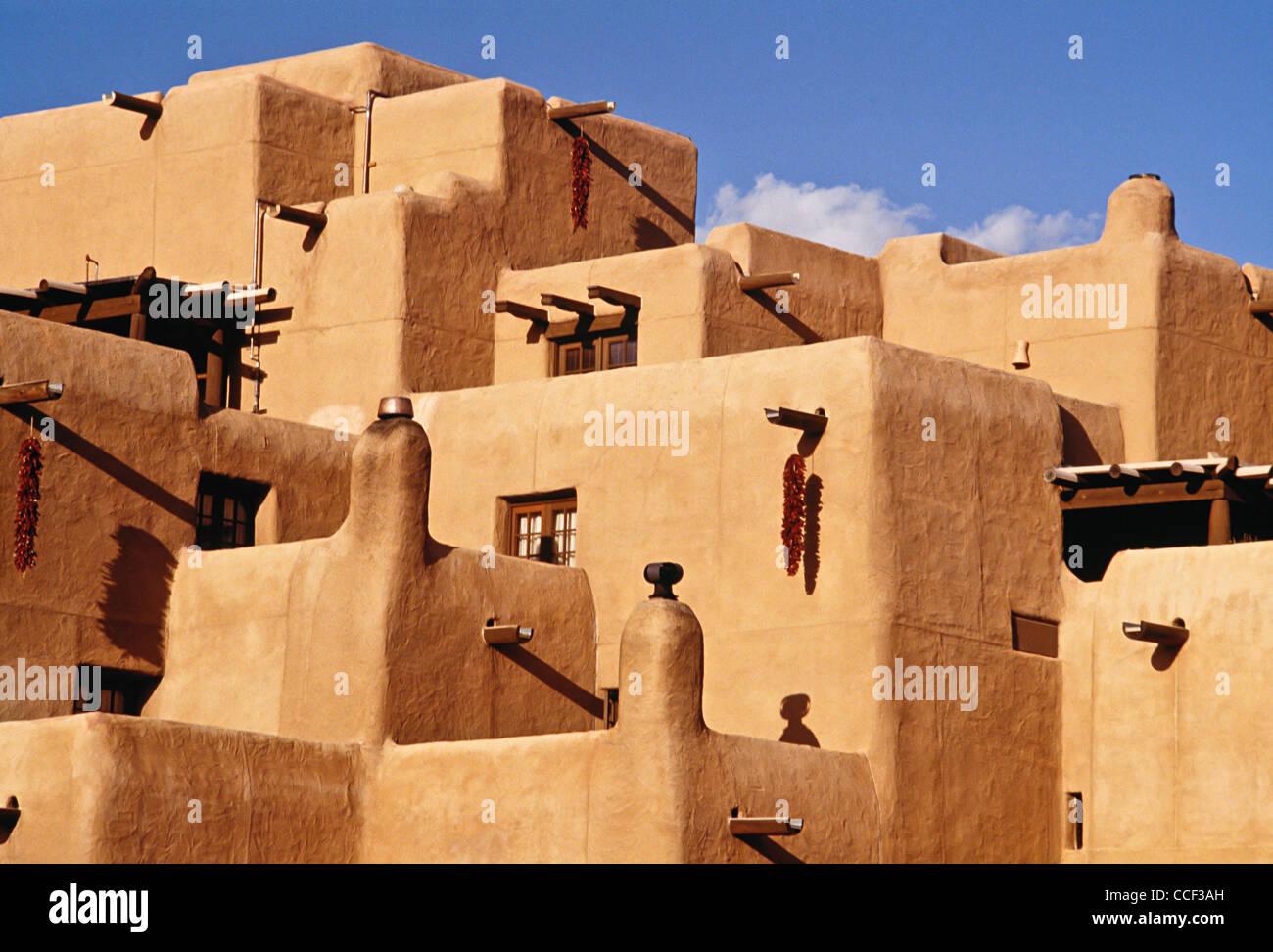 Pueblo Revival Style Buildings Santa Fe Stock Photo
