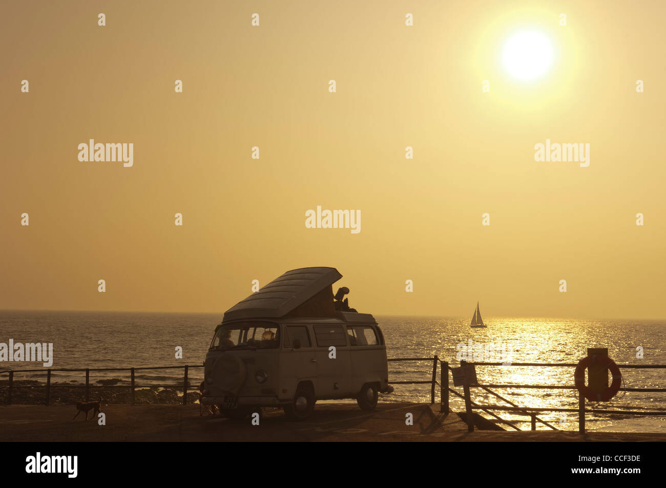 VW camper van parked on the seafront at dawn. Broastairs. Isle of Thanet. Kent. England. UK - Stock Image