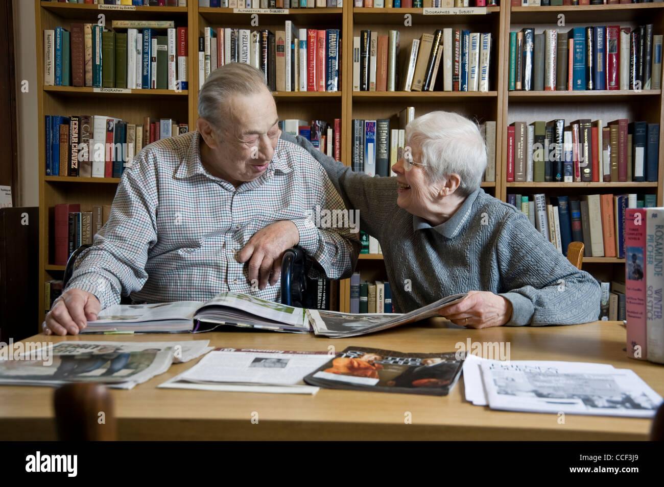 Elderly Couple Enjoying Each Others Company - Stock Image