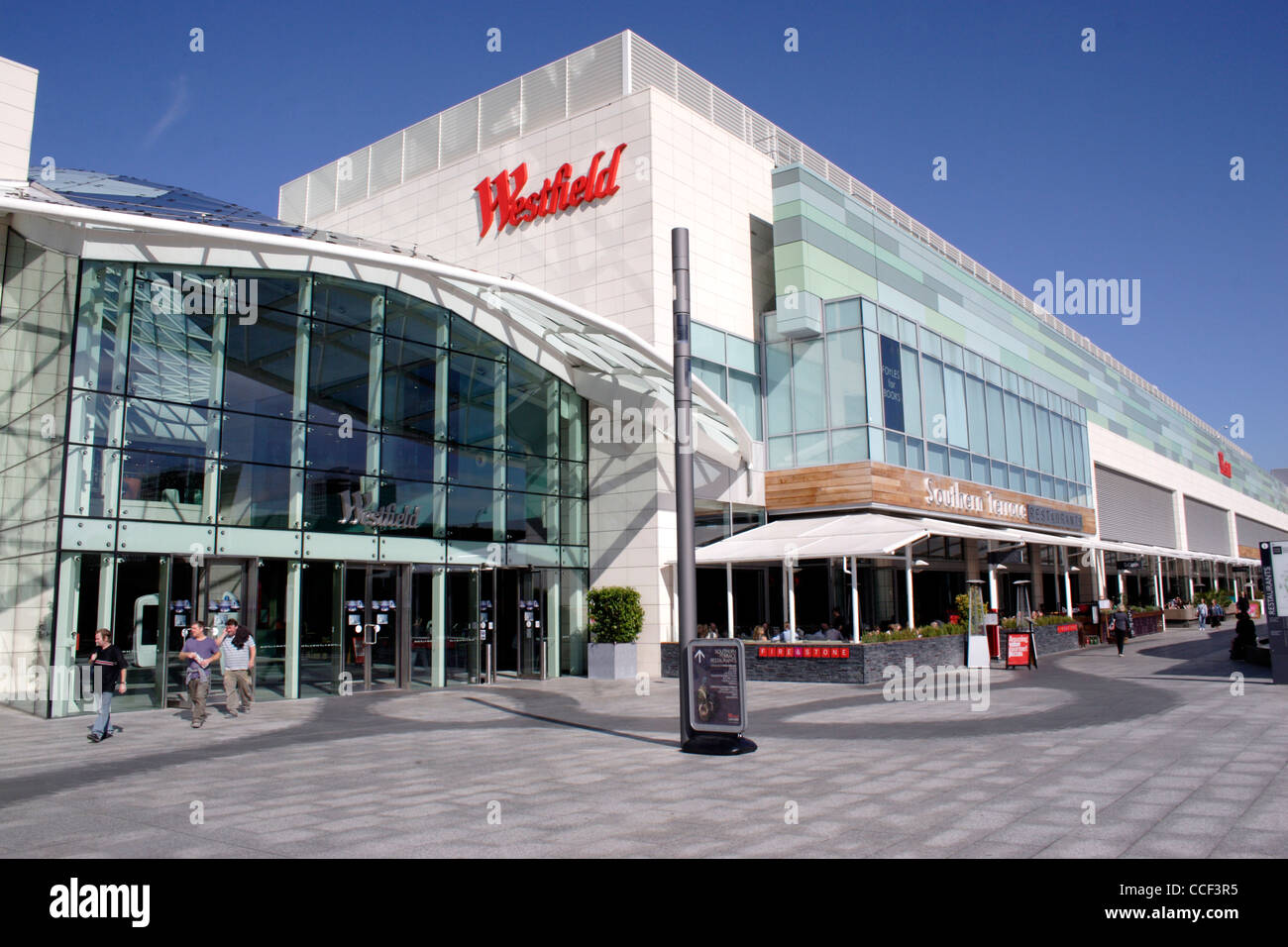 Entrance to Westfield Shopping Centre Shepherds Bush London - Stock Image