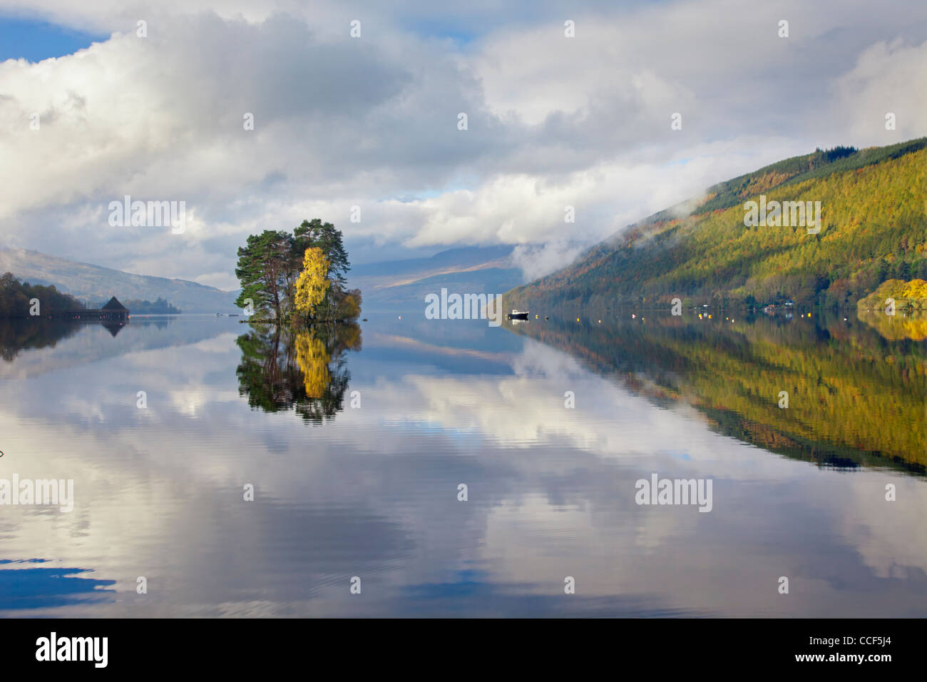 Loch Tay near Kenmore in Perthshire, Scotland captured in October - Stock Image