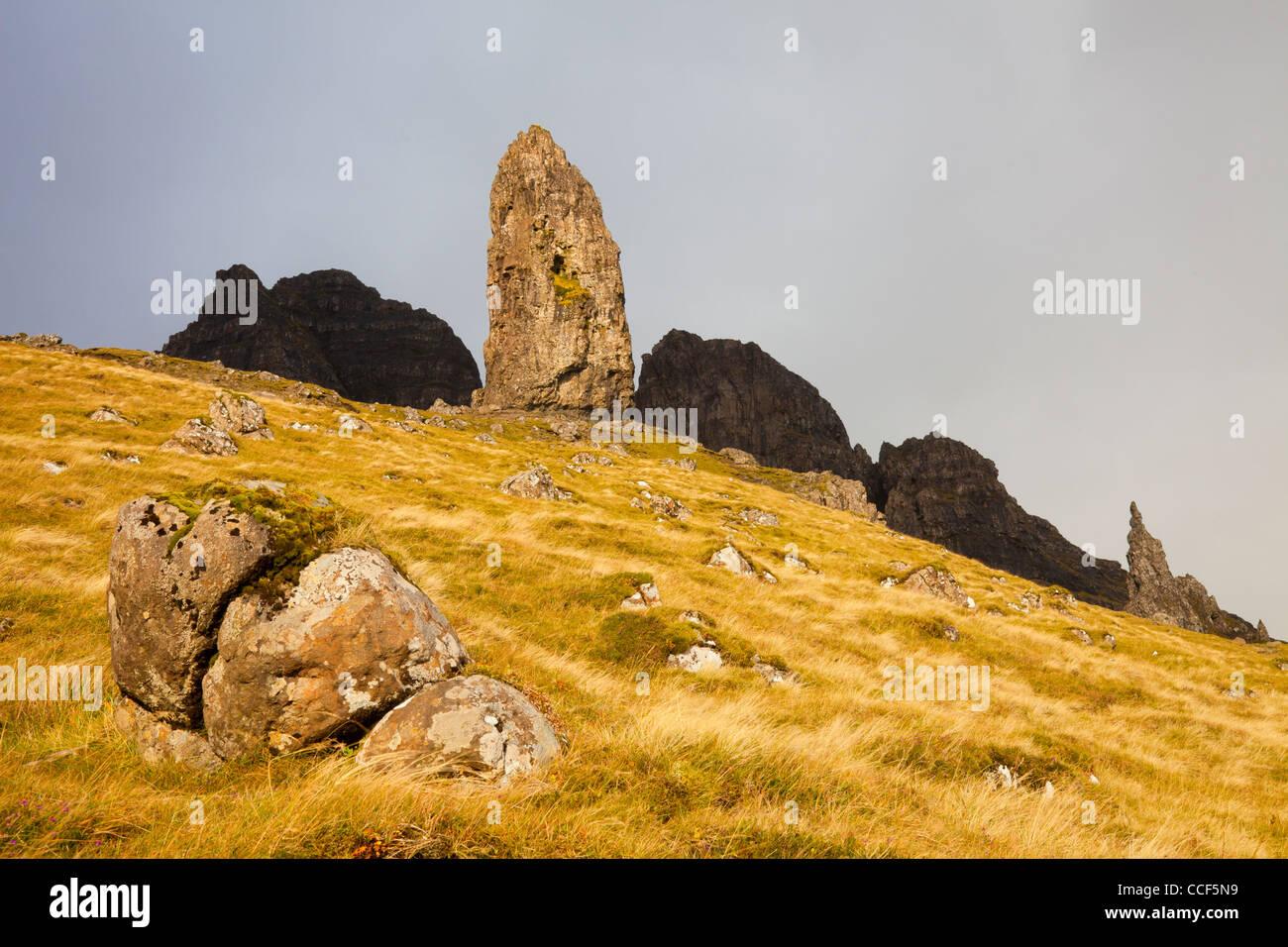 The Old Man of Storr on the Trotternish Ridge on the Isle of Skye, Scotland - Stock Image
