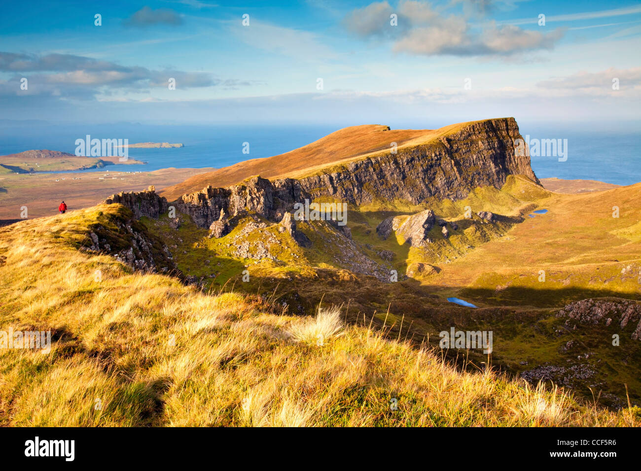 Fir Bhreugach on the Trotterish Ridge, just north of the Quiraing on the Isle of Skye. Bathed in late evening light. - Stock Image