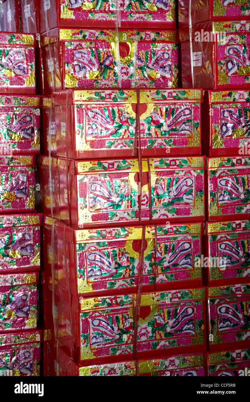 large paper imitation gift wrapped presents which can be burned as offerings to the dead po fook hill cemetery sha - Stock Image