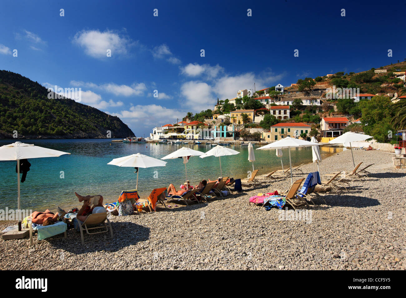 Assos (or 'Asos') one of the most beautiful villages of Kefalonia, on the north part of the island. Ionian - Stock Image