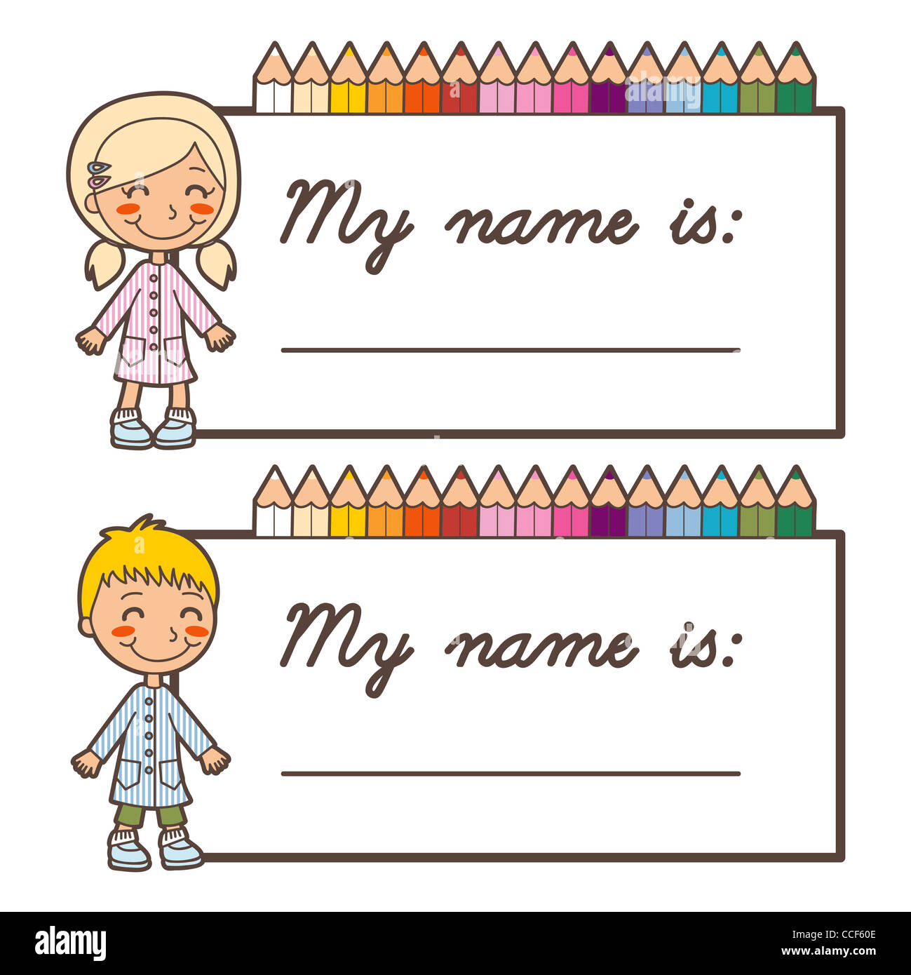 set of two back to school name tag stickers for boy and girl with