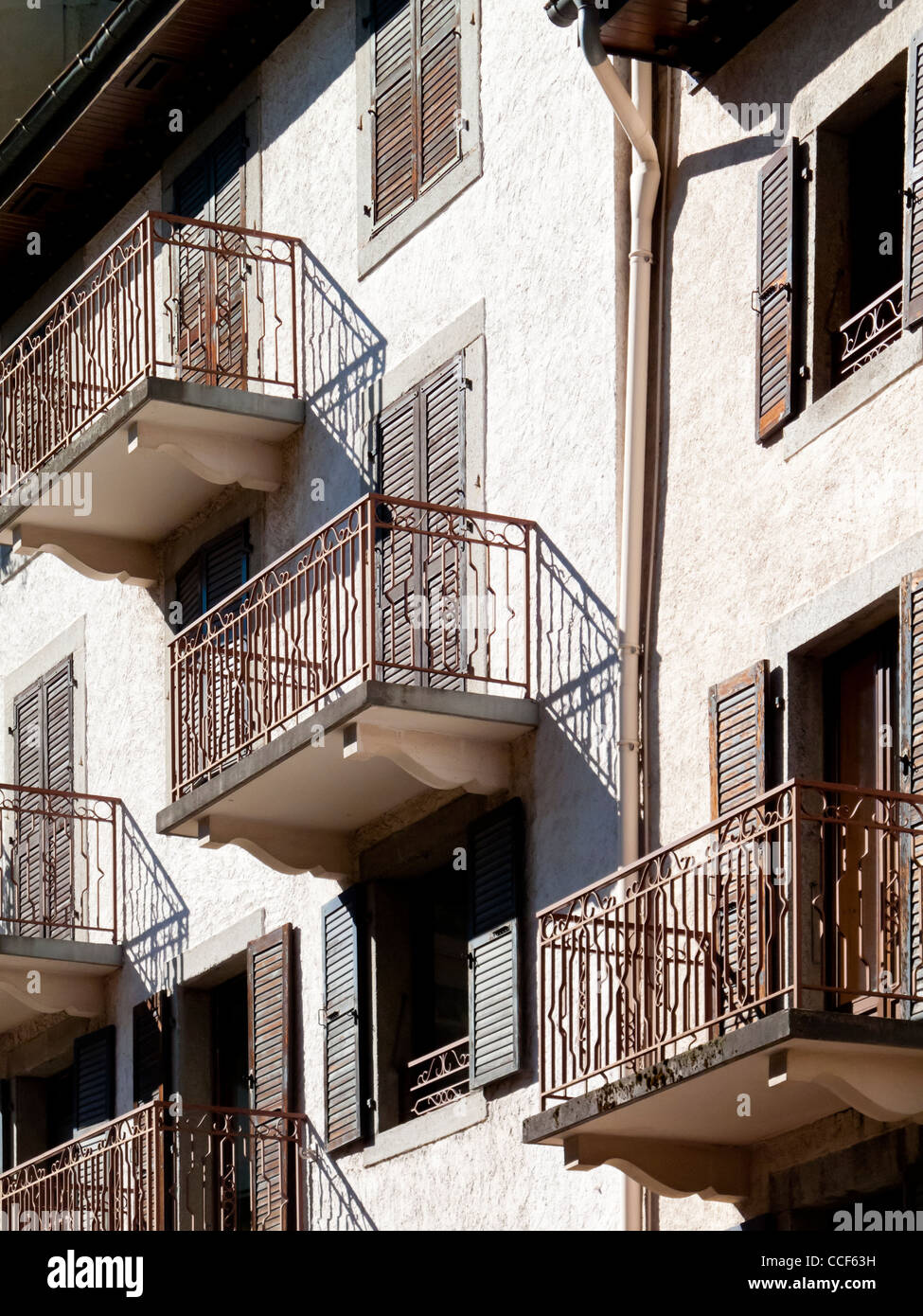 Typical Balconies On French Apartments In Chamonix A Resort Town In The  Alps Savoie France