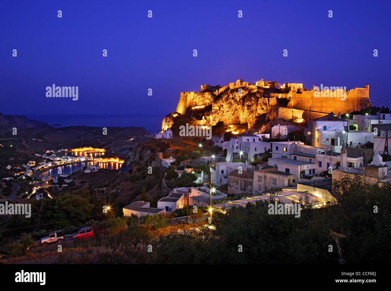 The Chora ('capital')  of Cythera (or 'Kythira') island on the left and Kapsali village in the background, - Stock Image