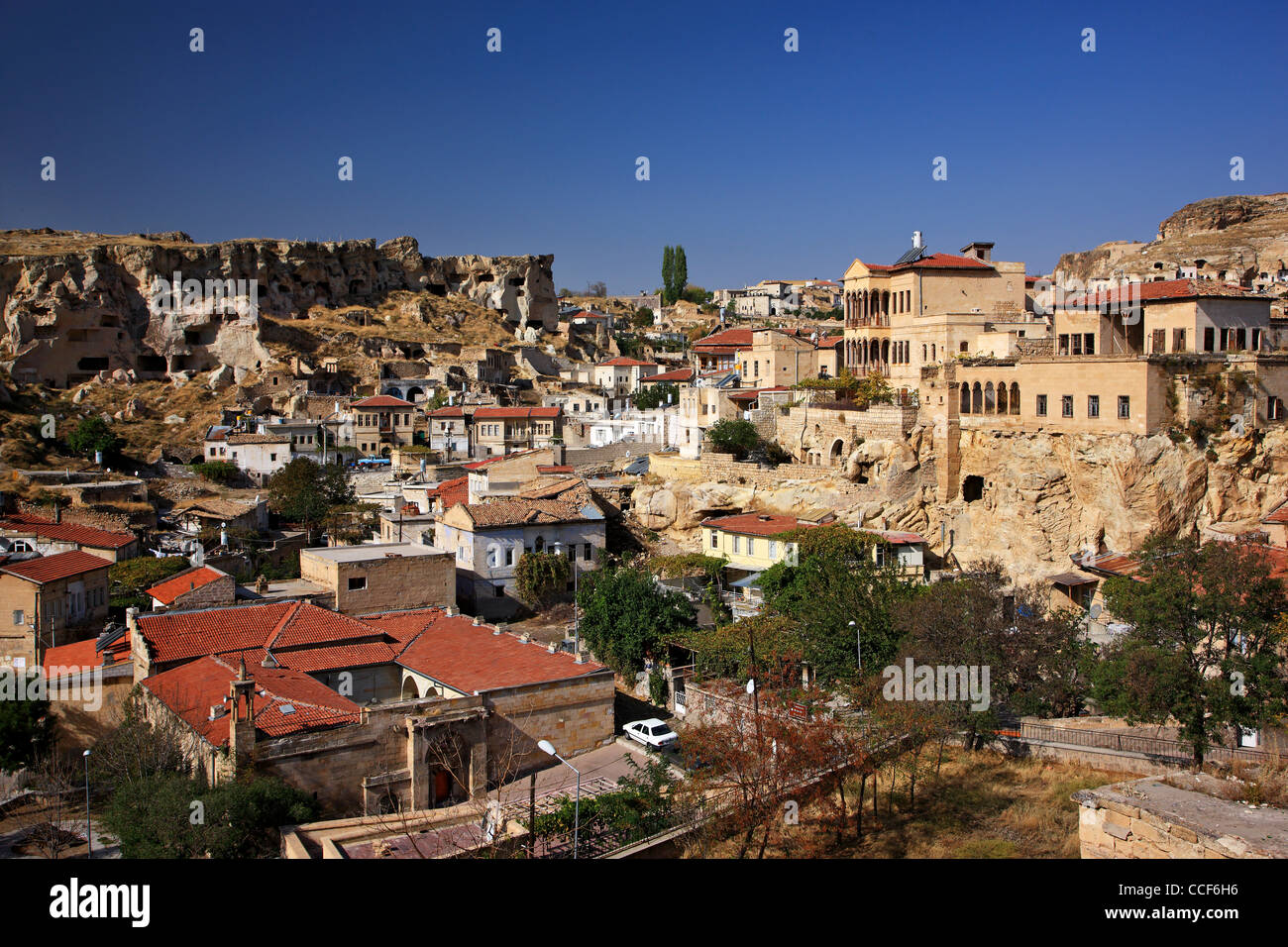 Photo from Urgup town, where you can see some old Greek houses. Nevsehir, Cappadocia, Turkey. - Stock Image