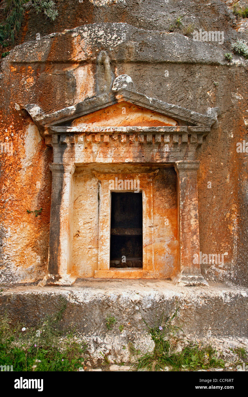The Lycian tomb, with its Doric facade in Kastellorizo island, Dodecanese, Greece. Stock Photo