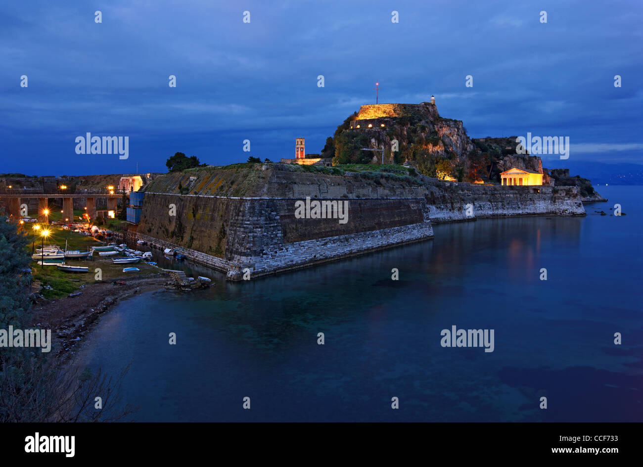 "Greece, Corfu (or ""Kerkyra"") island. The Old Fort and the canal called ""Contrafossa"", that separates it from the Stock Photo"