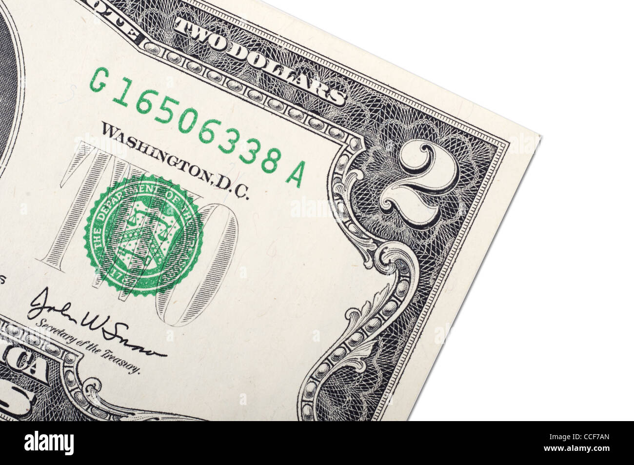 Two dollar bill close-up on white - Stock Image