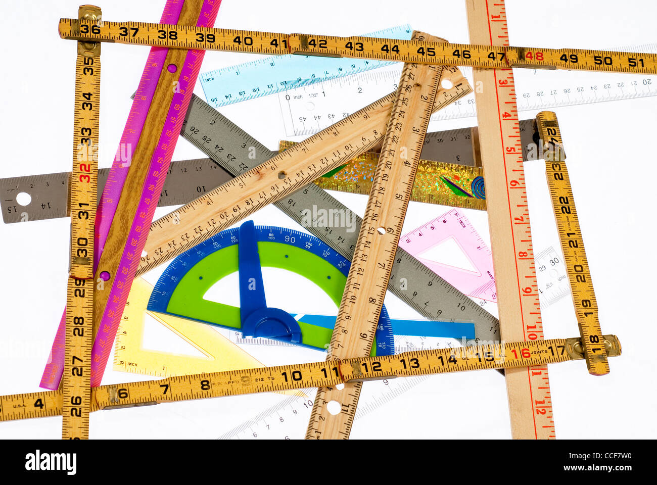 A collection of different rulers - Stock Image