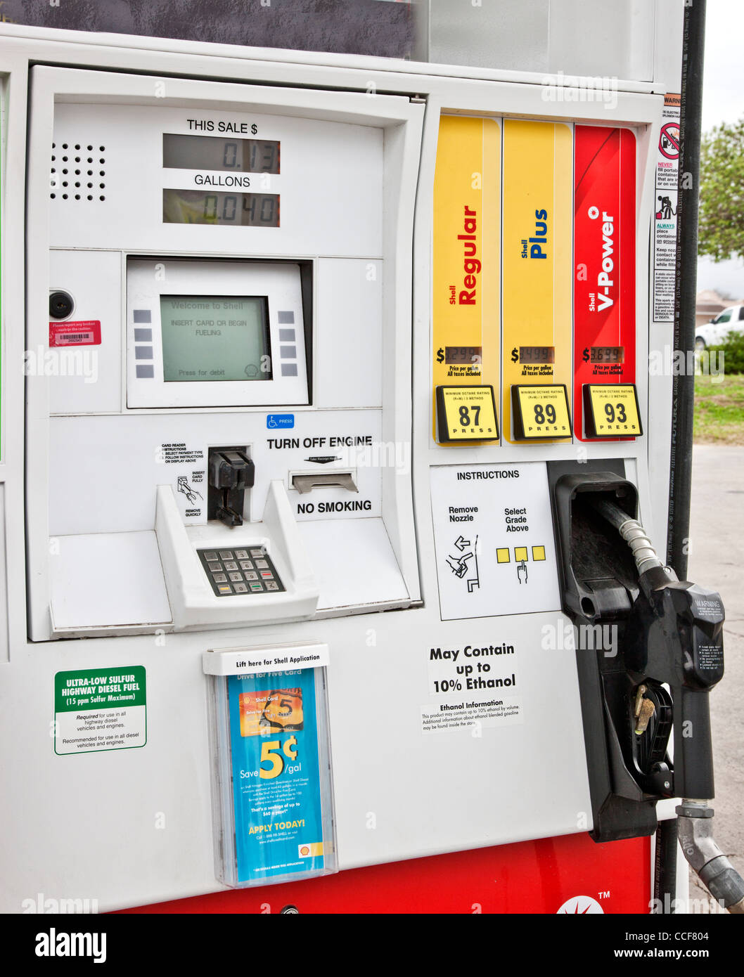 Fuel pump 'May Contain up to 10% Ethanol'. - Stock Image