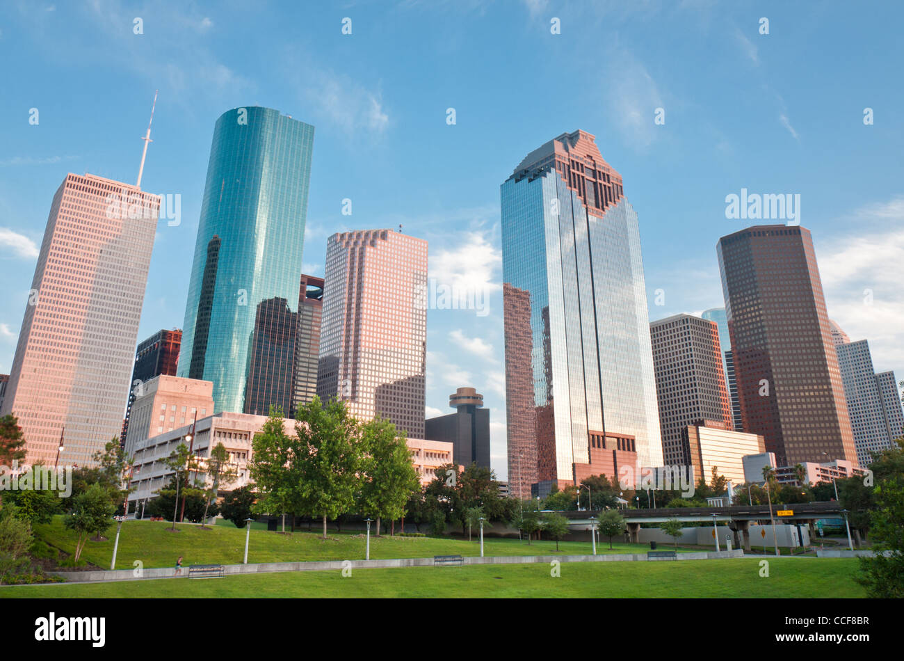 Houston is a vivid city constantly changing and growing. The skyline is especially green and esthetic. - Stock Image