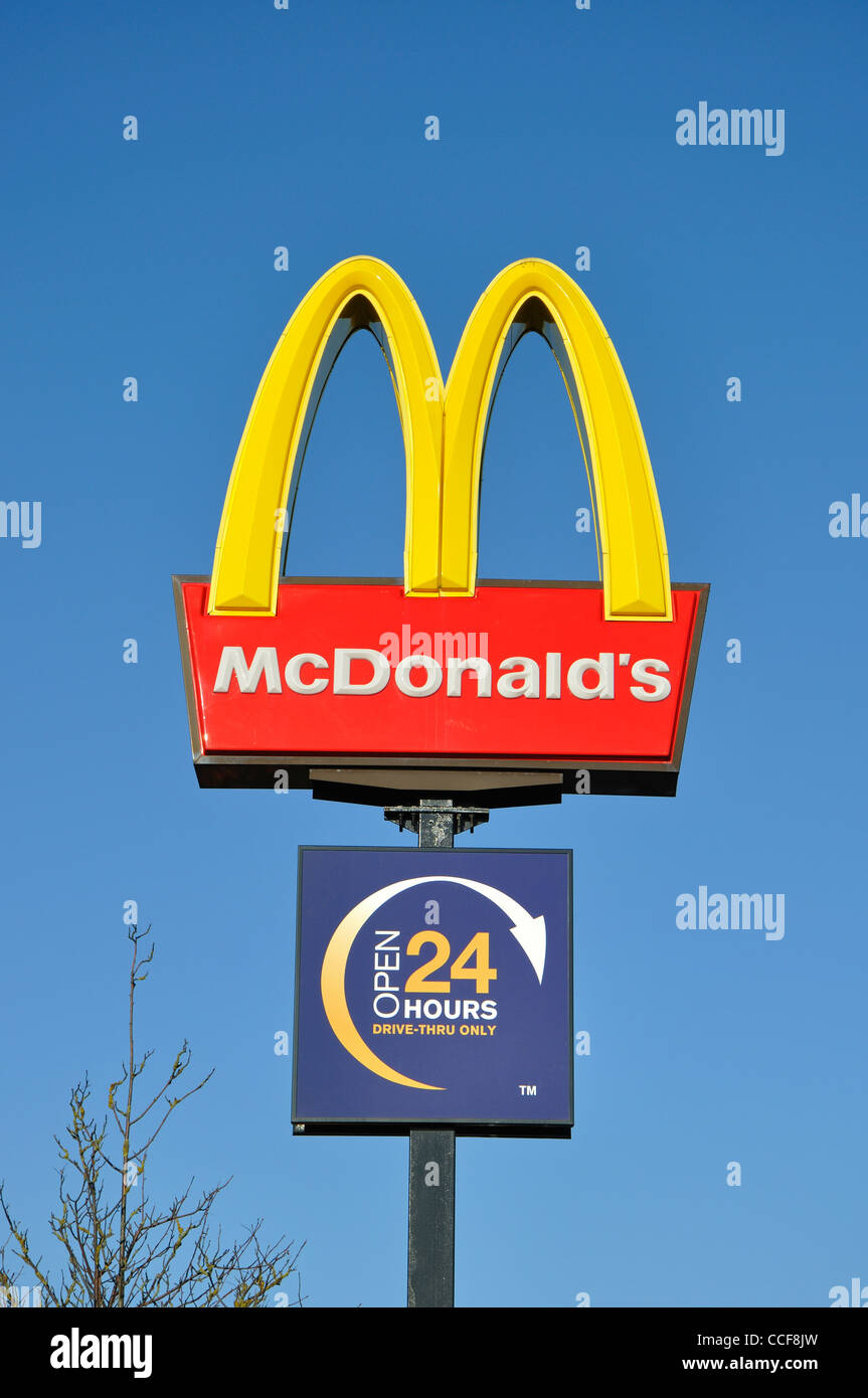 Mcdonalds Open 24 Hours Drive Thru Sign England Uk Stock