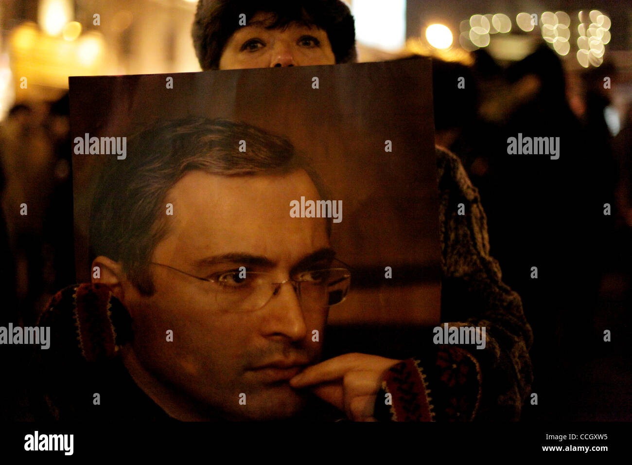 Dec 31, 2010 - Moscow, Russia - A demonstrator holds a portrait of jailed ex-tycoon Mikhail Khodorkovsky at the - Stock Image