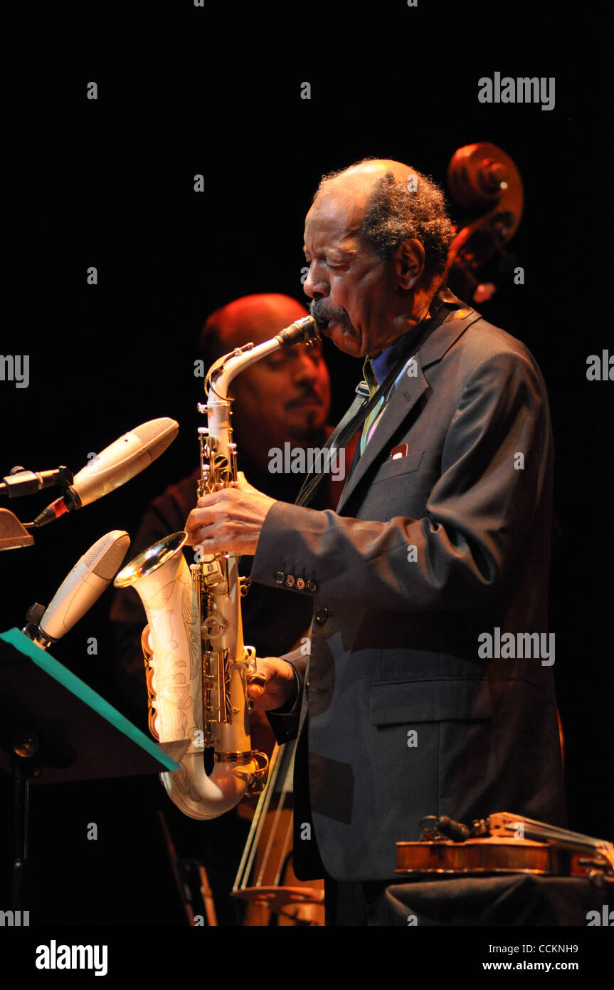 Nov. 18, 2010 - Austin, Texas, U.S. - Ornette Coleman live at Bass Hall  in Austin TX on 11/18/2010 with Tony Falanga Stock Photo