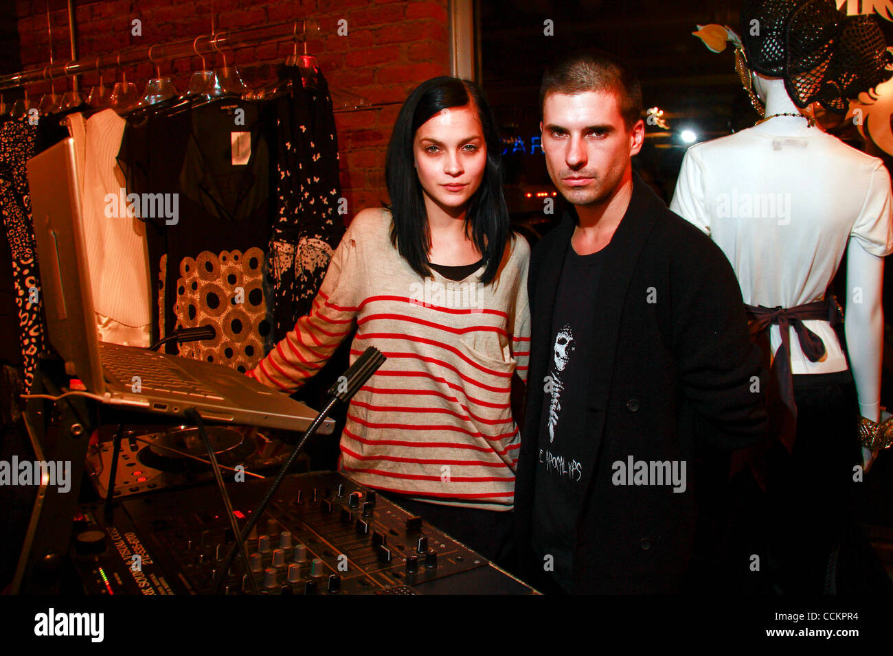 Leigh Lezark and Geordon Nicol of the Misfits attends the Carmen Kass hosted launch of beyond7boutique.com at Beyond - Stock Image