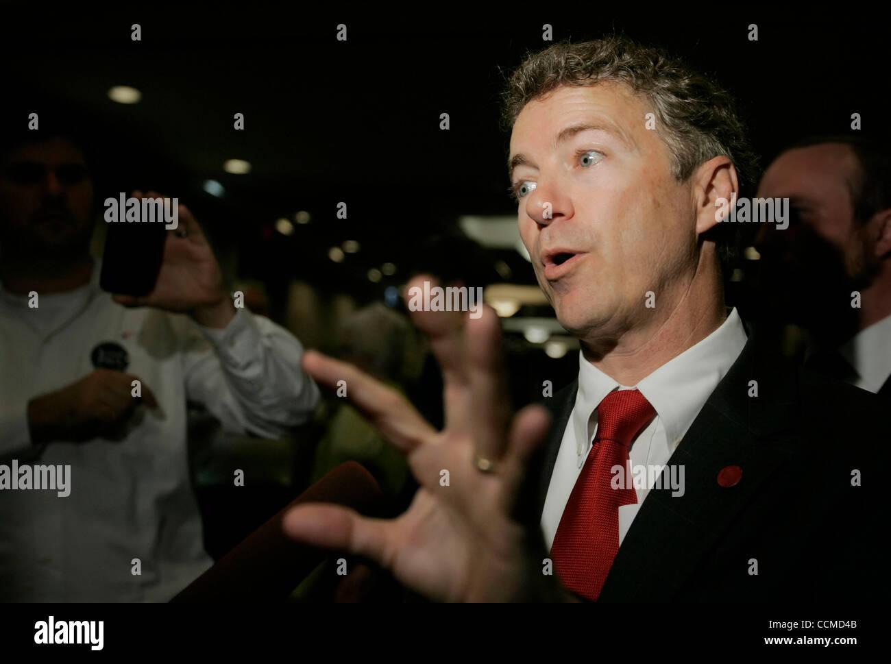republican senator elect rand paul talks with the media following an
