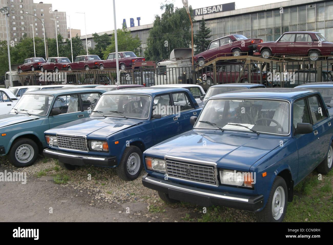 Sale of russian made Lada cars made by Avtovaz car maker Stock Photo ...