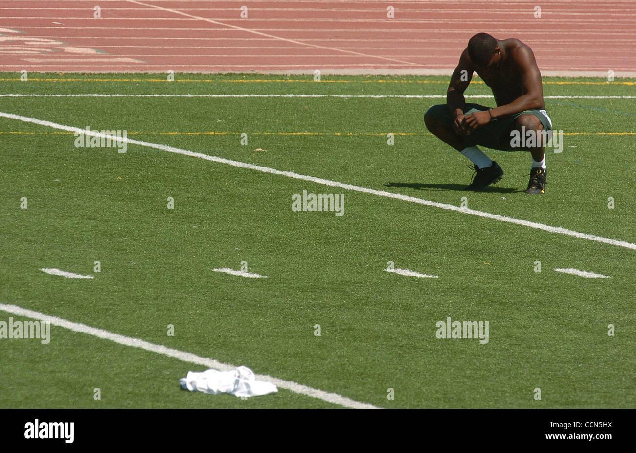Former De La Salle Football Player Cameron Colvin Takes A Break Stock Photo Alamy