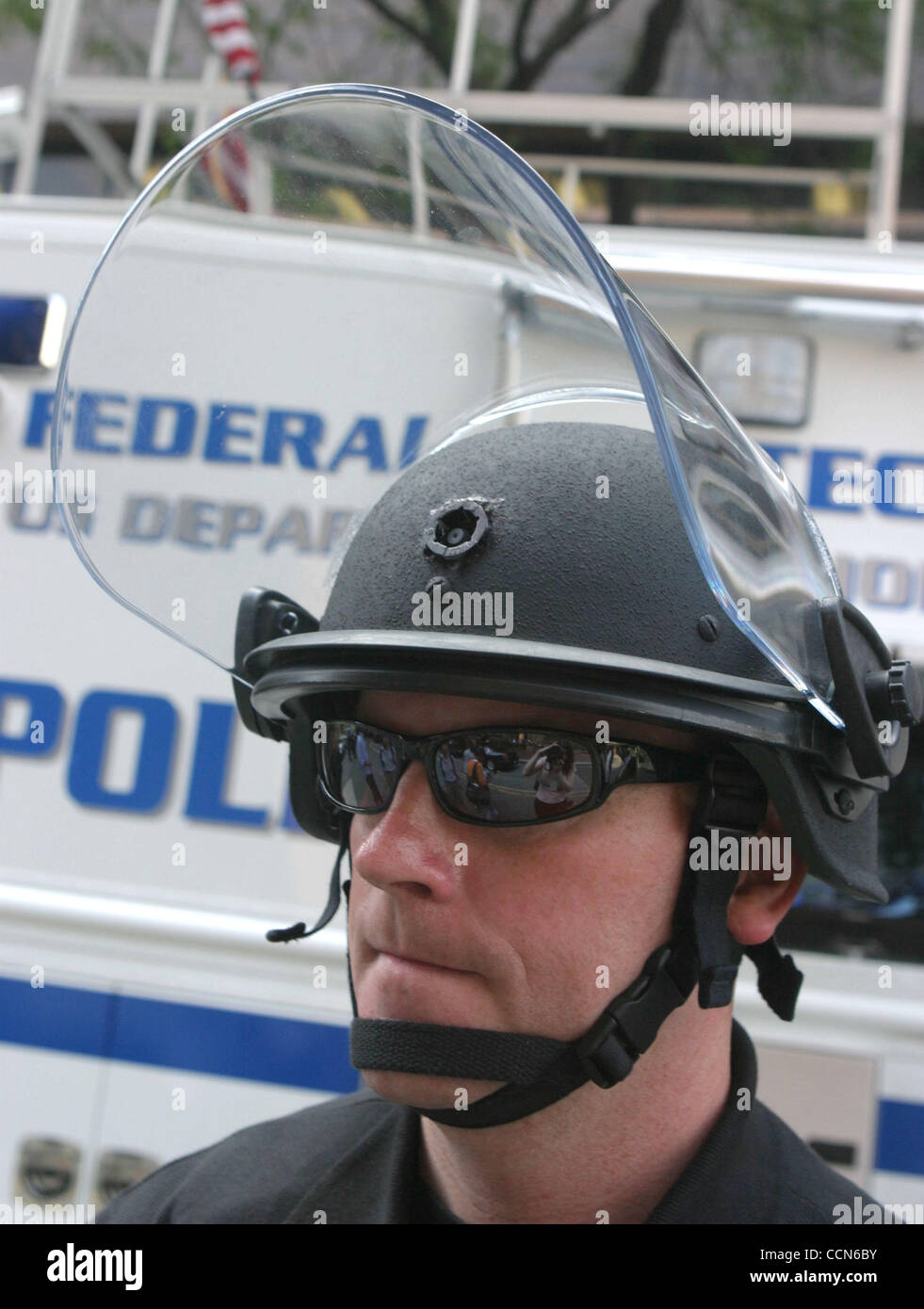 Aug 25, 2004; New York, NY, USA;  A view police officer wearing a helmutcam which allows hidden video surveillance Stock Photo