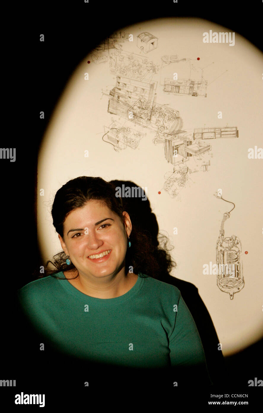 (Published 11/13/2005, F-4) Artist May-Ling Martinez stood in front of her work ''The Logic of Things'' - Stock Image