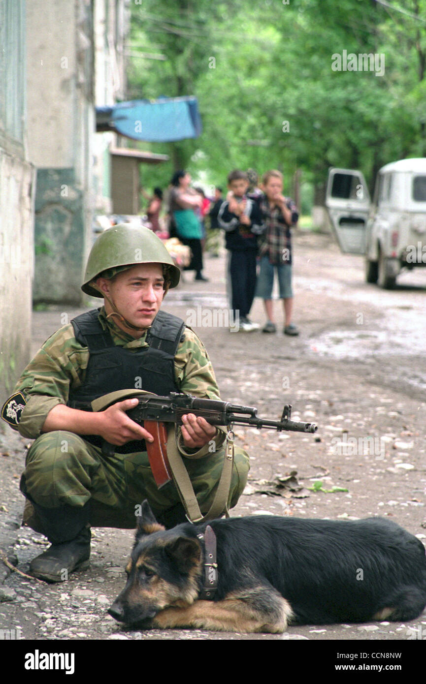 Soldier of russian federal troops at the army operation in the suburbs of Grozny to destroy chechen rebels. Stock Photo