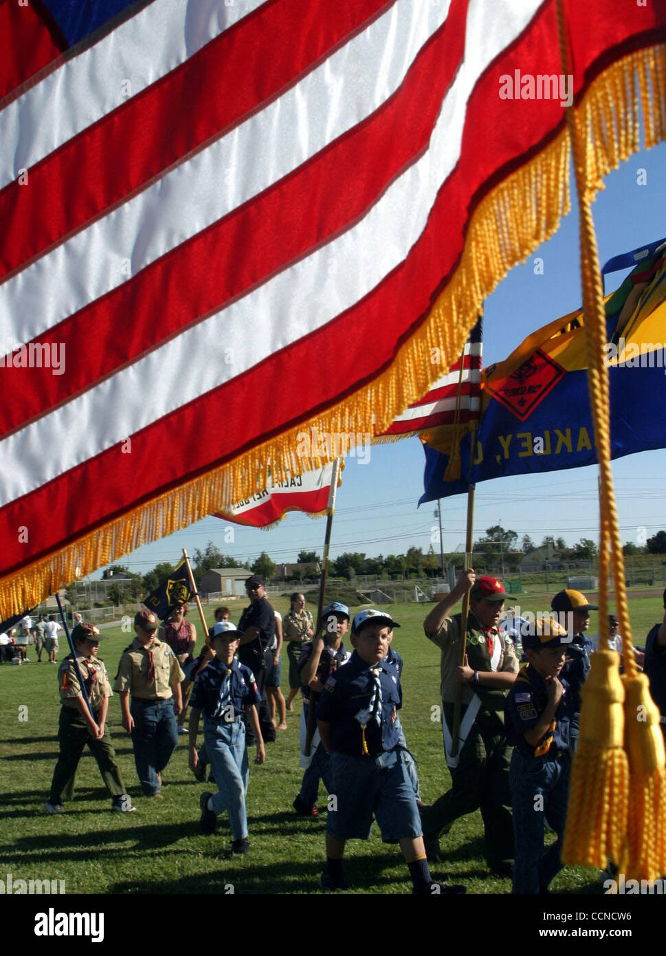 Cub Scouts from pack 155 and Boy Scouts from troop 298