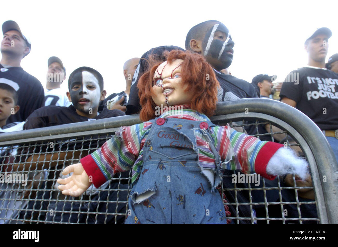 Raiders Fans Hang A Chucky Doll From The Stands Prior To Sundays Game Vs