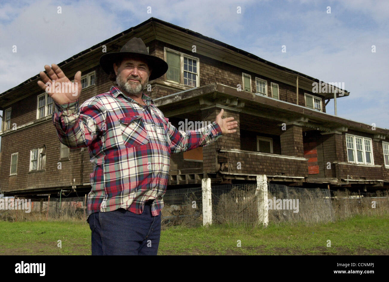 Local farmer Tom Trost of Antioch Calif., has been trying to save the historic Bridgford House (cq) in Bethel Island - Stock Image