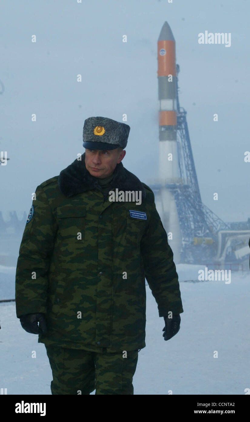 The president of Russia Vladimir Putin at Plesetsk Cosmodrome - Stock Image