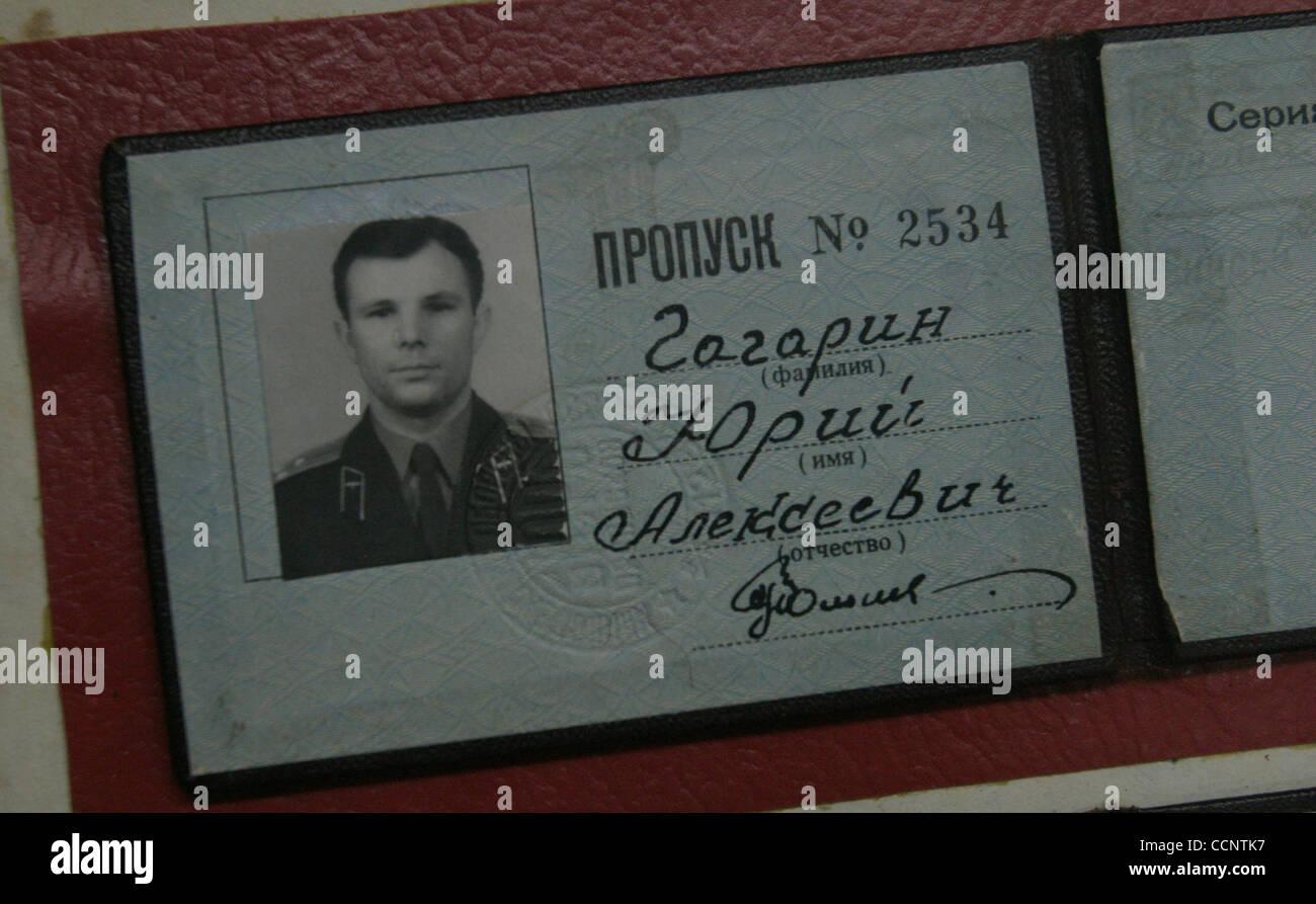 Baikonur cosmodrome , Soviet cosmonautic history museum , ID card of the first Soviet cosmonaut Yuri Gagarin - Stock Image