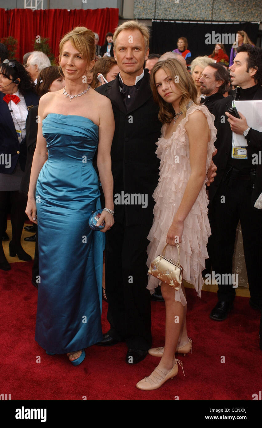 Feb 29, 2004; Hollywood, CA, USA; OSCARS 2004: Singer STING, wife TRUDIE STYLER and their daughter arrive at the 76th Annual Academy Awards held at the Kodak Theatre in Hollywood. Stock Photo