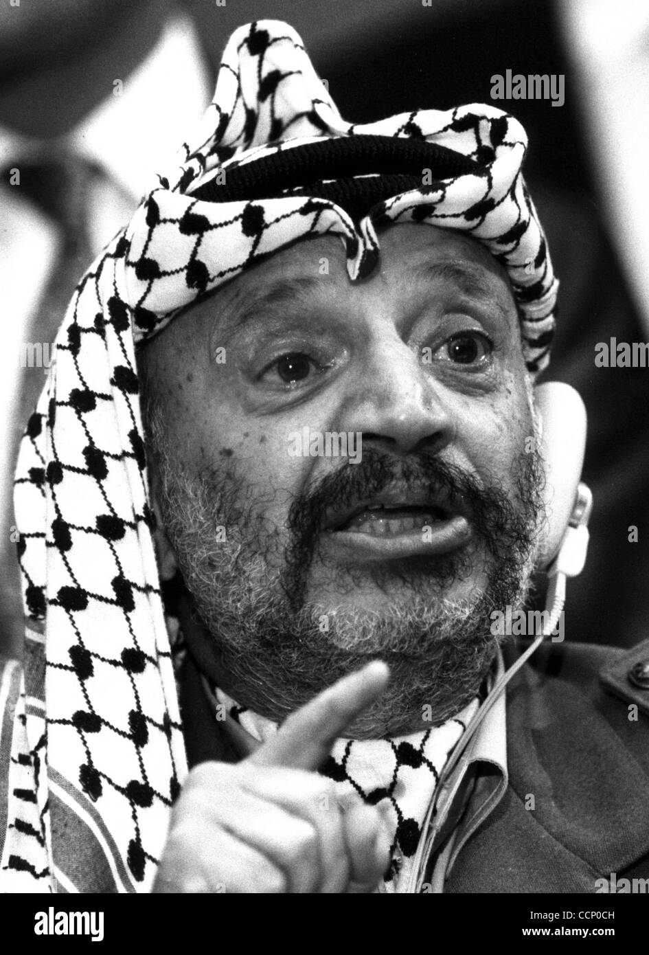 Dec 15, 1988; Geneva, Switzerland; Chairman of the P.L.O. YASSER ARAFAT at the United Nations Assembly press conference. - Stock Image