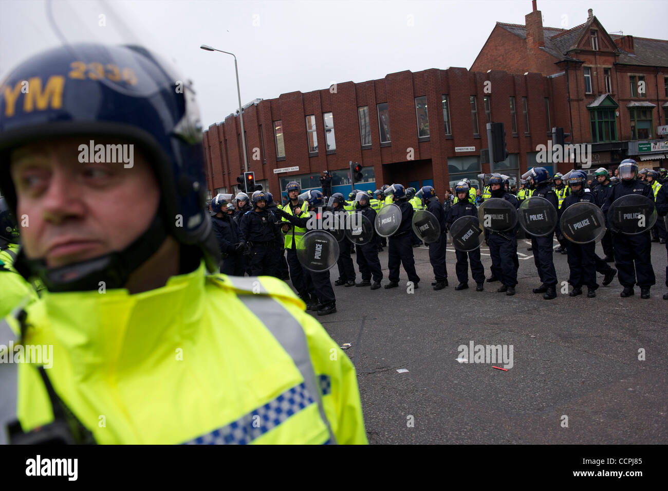 Oct 9, 2010 - Leicester, England, United Kingdom - A phalanx of police officers, numbering in excess of 1,400, equipped Stock Photo