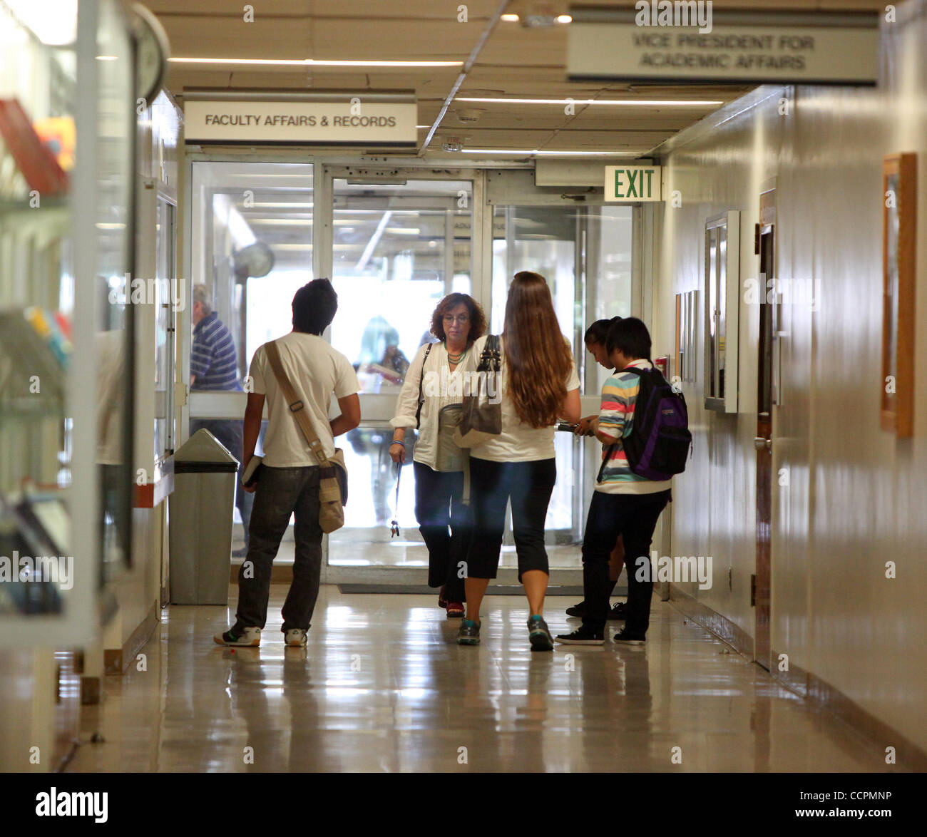 Oct 11, 2010 - Fullerton, California, U.S. - Students roam the halls inside the Langsdorf Building at California - Stock Image